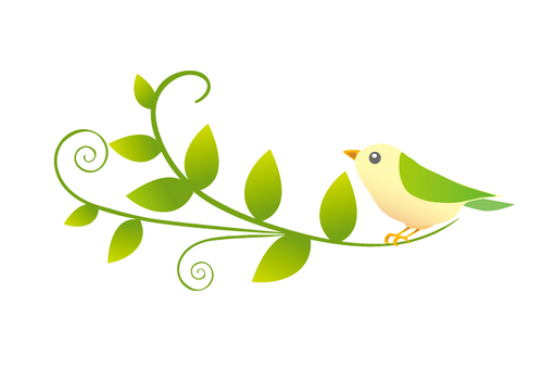 One point of small birds and leaves