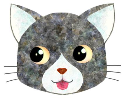 貓臉(灰/白)5
