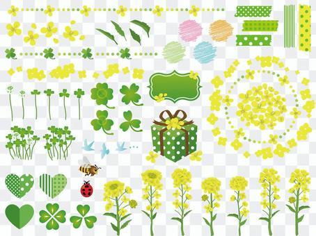 春天強姦花和三葉草材料收集