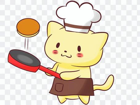 Cat and chef (hot cake)