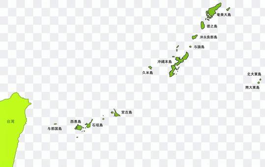 沖繩群島Am美群島地圖,島名
