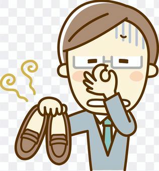 A man with a stinky shoe