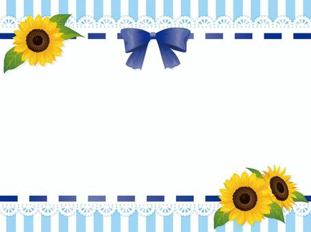 Sunflower and ribbon lace striped background 2