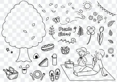 野餐套裝黑白