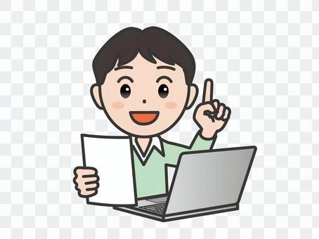 弐_パソコン161_私服男性書類