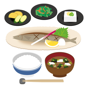 Set meal Pacific saury
