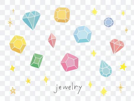手寫的插圖的多彩的珠寶
