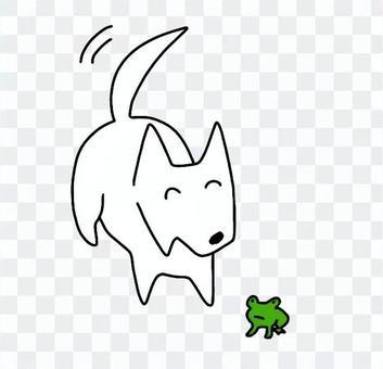 カエルを見つけて喜ぶ犬