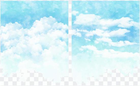 粗糙的水彩觸摸藍藍的天空圖卡