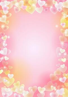 ハートフレームの背景ピンク縦