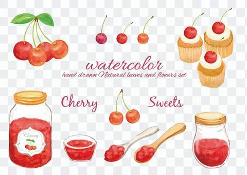 水彩櫻桃糖果套