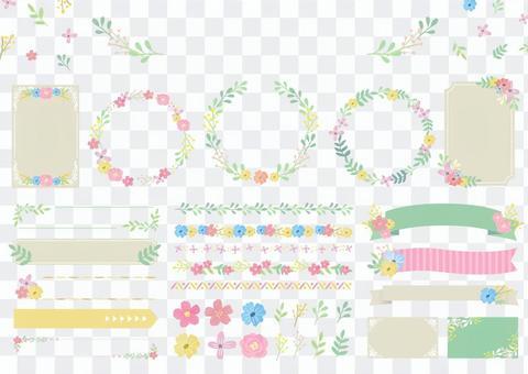 セット素材060 お花のフレームセット