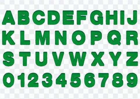 Alphabetical number Green Moss