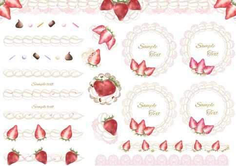 Strawberry and whip frame line illustration set