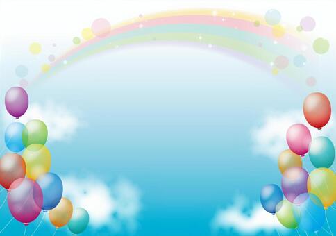 氣球和彩虹背景