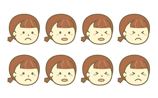 Sideways face set of a crying girl