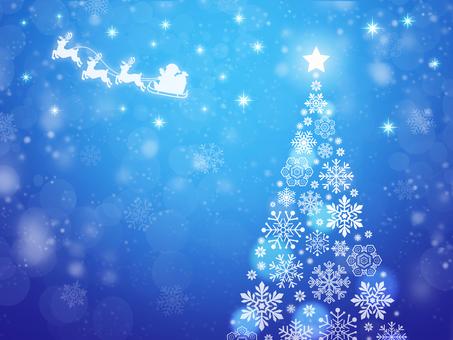 雪花樹和聖誕老人藍色