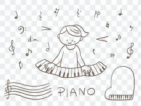 Hand-painted piano and musical notes brown