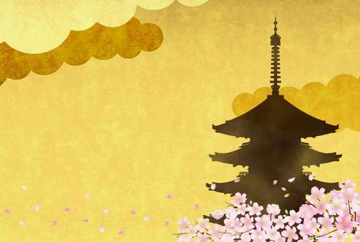 Sakura and five-storied pagoda 4