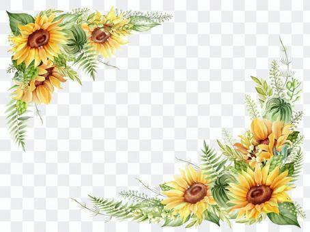向日葵水彩框架水平構圖