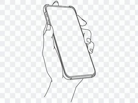 拿智能手機的手