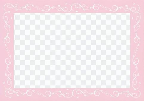우아한 당초 장식 프레임 - 핑크