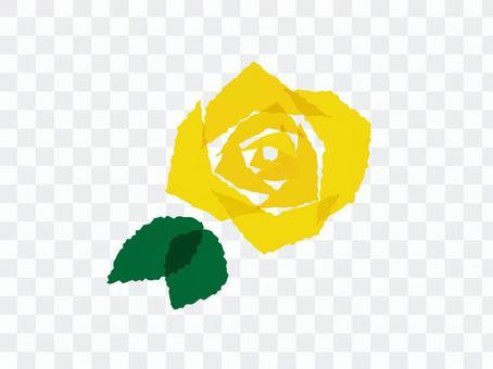 切り絵風の黄色い薔薇