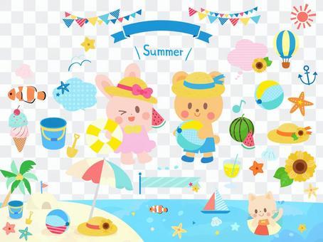 可愛的小動物夏天海集