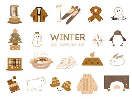 Cute winter icon brown
