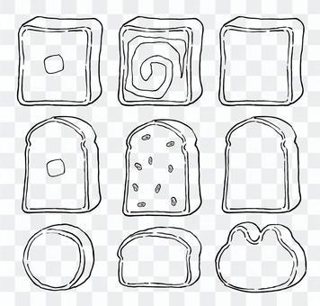 麵包的插圖(線描)