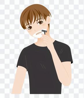 Young man-shaving-upper body