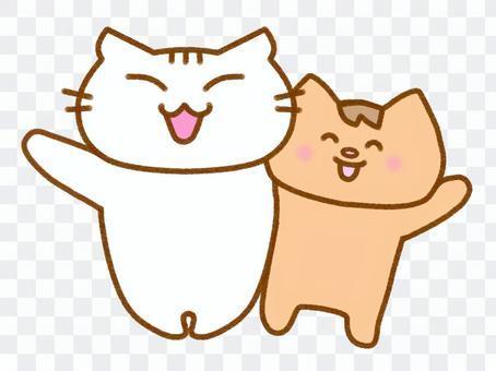 兩隻貓,揮舞著他們的手2