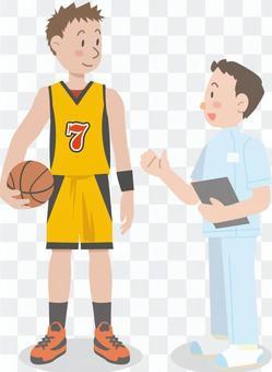 Basketball player physiotherapist illustration