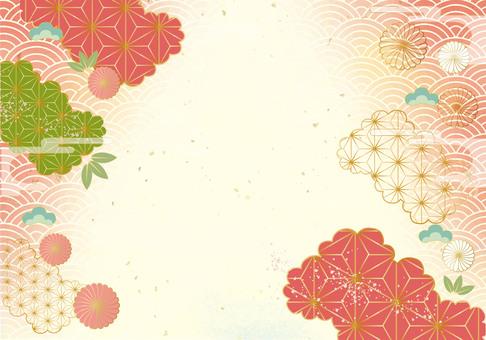 日本紙和色塊的時尚背景材料