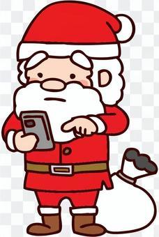 聖誕老人與智能手機的插圖