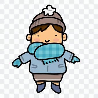 厚厚的衣服的男孩的插圖