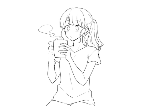 Drink drink girl line drawing