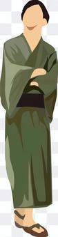 浴衣男式綠色