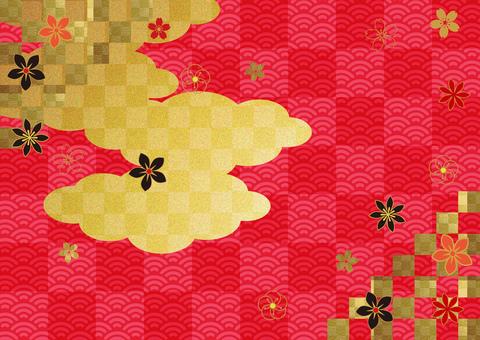 日本圖案和clouds_red格子背景2872