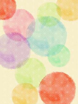 수채화의 물방울과 일본식 디자인의 배경