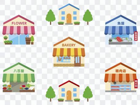 商店街の花屋、パン屋、八百屋、魚屋、肉屋