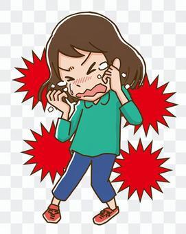 女孩因壓力而哭泣