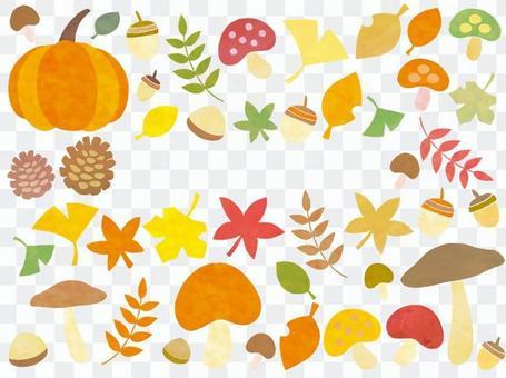 秋天的蘑菇秋天的樹葉銀杏套