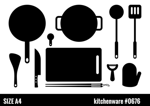 Silhouette of kitchen utensils (cooking utensils)