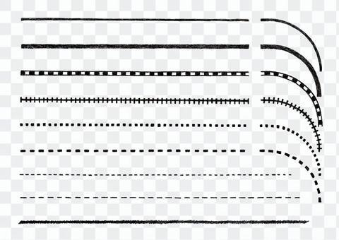 地図手描きラインと点線セットの白黒素材