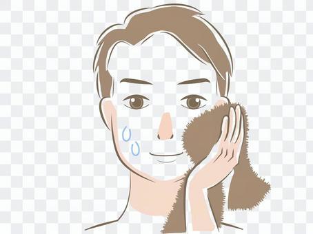 Beauty / skin care illustration man face wash