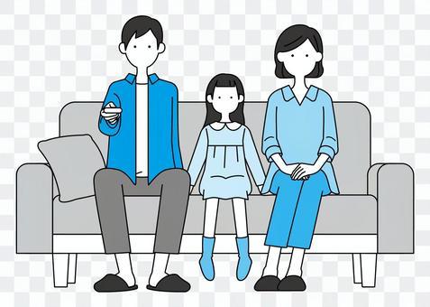 シンプル家族-ソファに座る
