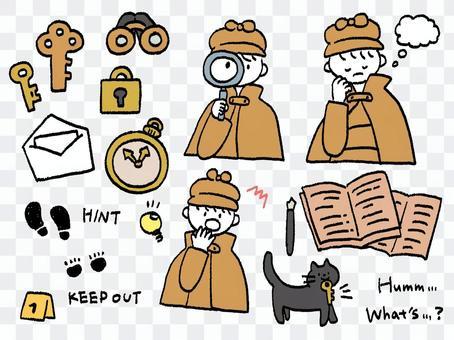 手描き 探偵と猫 カラー