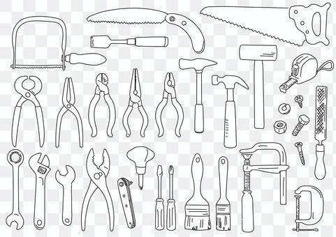 手繪線藝術插圖的工具集