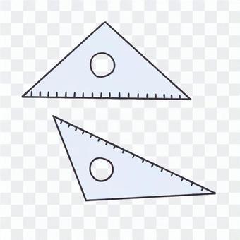 Triangular ruler and isosceles ruler